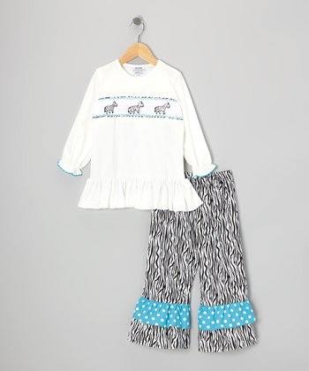Black & White Smocked Top & Pants - Infant, Toddler & Girls