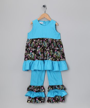 Blue Floral Ruffle Swing Tunic & Pants - Toddler & Girls