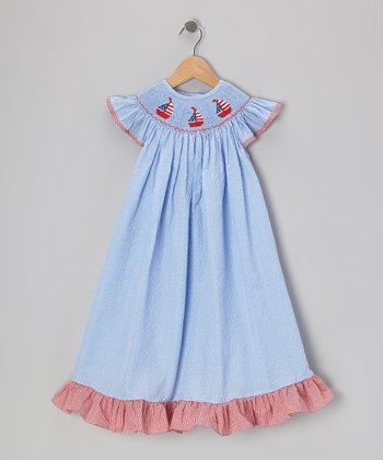 Blue & Red Sailboat Bishop Dress - Toddler & Girls