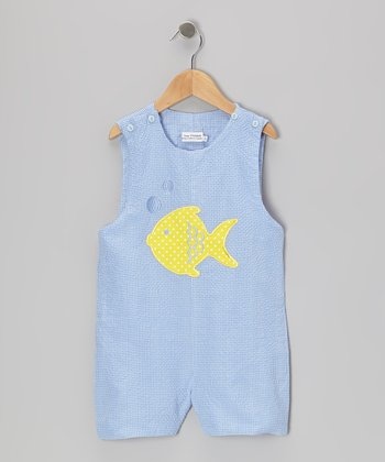 Blue & Yellow Fish Shortalls - Infant & Toddler