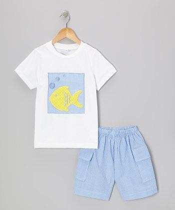 Blue & Yellow Fish Tee & Gingham Shorts - Infant & Toddler