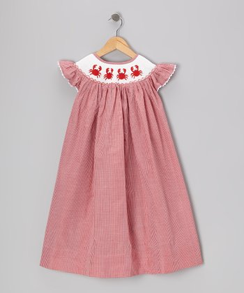 Red Crab Smocked Bishop Dress - Toddler & Girls