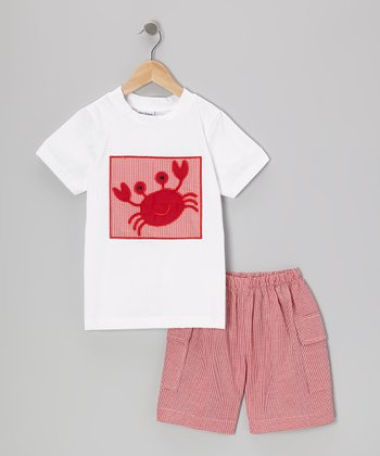 Red Crab Tee & Gingham Shorts - Infant & Toddler