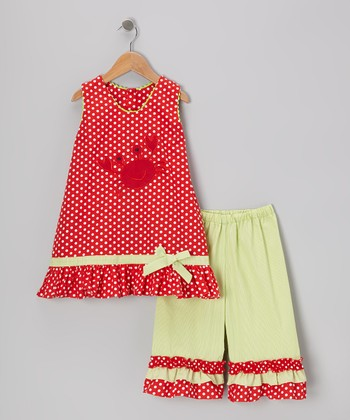 Red Crab Swing Top & Ruffle Capri Pants - Infant & Girls