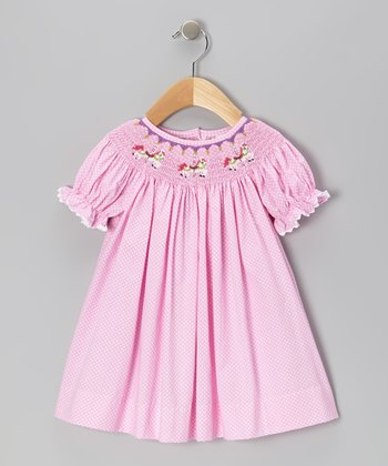 Pink Polka Dot Carousel Bishop Dress - Infant & Toddler