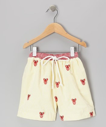 Yellow Lobster Cotton Swim Trunks - Infant, Toddler & Boys