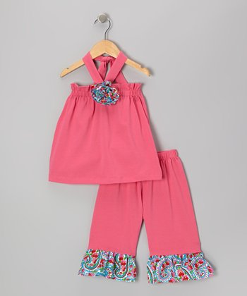 Pink Rosette Halter Top & Capri Pants - Infant, Toddler & Girls