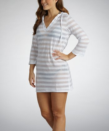 White Sheer Stripe Hooded Cover-Up