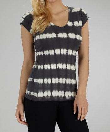Carbon Stripe Tie-Dye Top