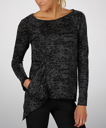 Black & Carbon Asymmetrical Pocket Top