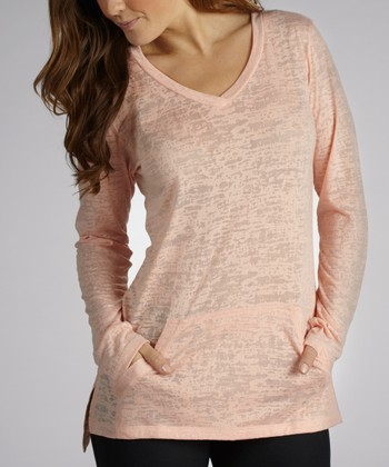 Peach Cool Factor Burnout Tunic