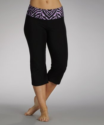 Purple Wild Child Flat-Waist Capri Pants
