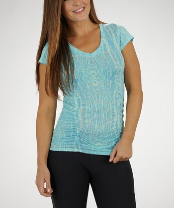 Menthol & Aquarius Ornamental Cosmo Ruched Slimming Tee