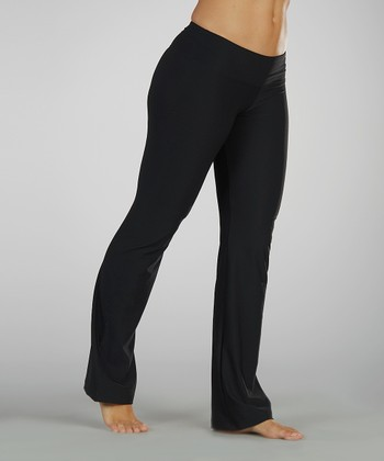 Black Flat-Waist Yoga Pants