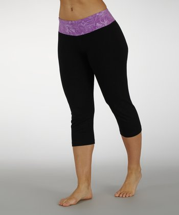 Sorbet Purple Tropic Thunder Waistband Capri Pants
