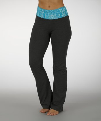 Menthol & Aquarius Ornamental Cosmo Tummy Control Yoga Pants - Women