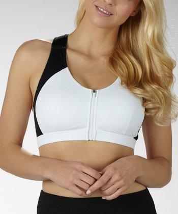 Black & White Zipper Sports Bra