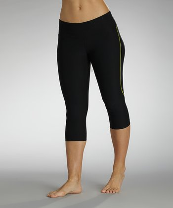 Black & Lemon Manic Collection Capri Leggings