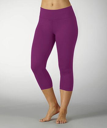 Neon Purple Sanded Dry-Wik Capri Leggings