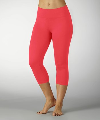 Hot Coral Sanded Dry-Wik Capri Leggings
