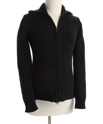 Black  Zip-Up Maternity Sweater