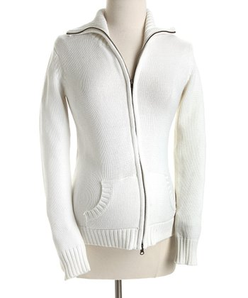 Off-White Zip-Up Maternity Sweater