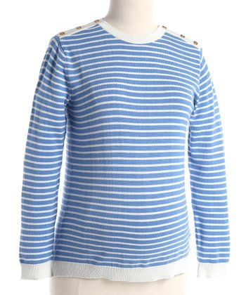 Blue Stripe Maternity Crewneck Sweater