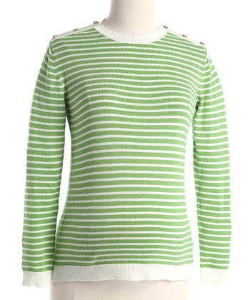 Green Stripe Maternity Crewneck Sweater