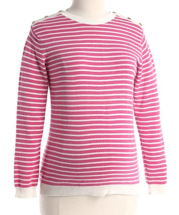 Pink Stripe Maternity Crewneck Sweater