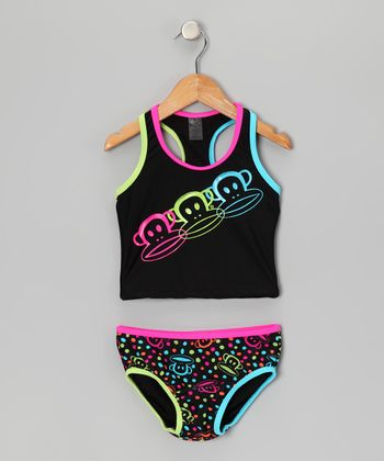 Black & Pink Julius Racerback Tankini - Toddler & Girls