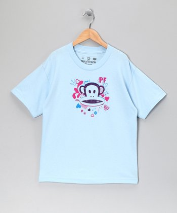 Powder Blue Heart & Monkey Tee