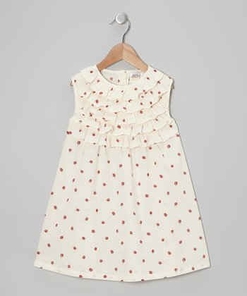 Cream Ladybug Ruffle Dress - Infant, Toddler & Girls