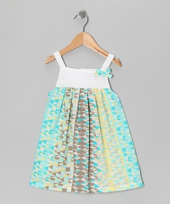 White & Aqua Geometric Pin Tuck Dress - Infant, Toddler & Girls
