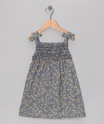 Gray Floral Patch Swing Dress - Infant, Toddler & Girls
