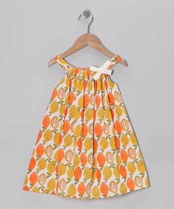 Orange Citrus Yoke Dress - Infant, Toddler & Girls
