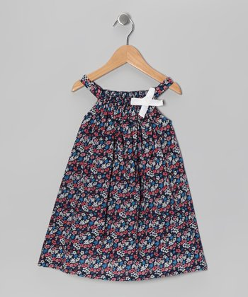 Blue Floral Yoke Dress - Infant, Toddler & Girls