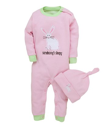 Pink 'Somebunny's Sleepy' Playsuit & Knot Beanie - Infant