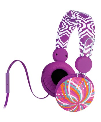 Purple Flossy Twist Jasmine Microphone Headphones