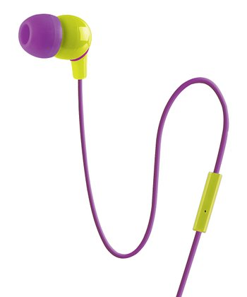 Purple & Chartreuse Urban Beatz Microphone Earbuds