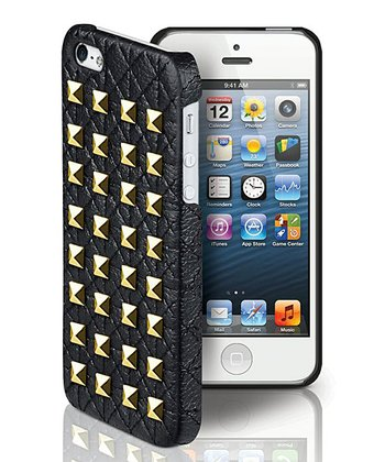 Black & Gold Large Studs Case for iPhone 5