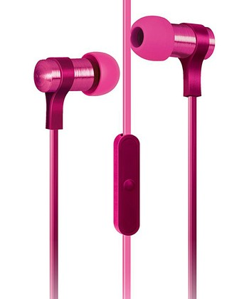 Pink Flat-Cable Earbuds