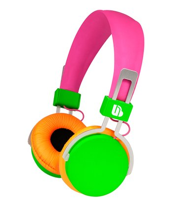 Pink & Green Urban Beatz's Hi-Light Power Headphones