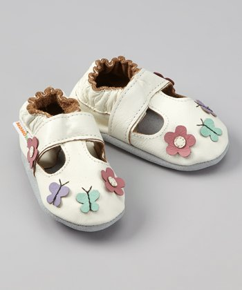 White Daisy & Butterfly Booties