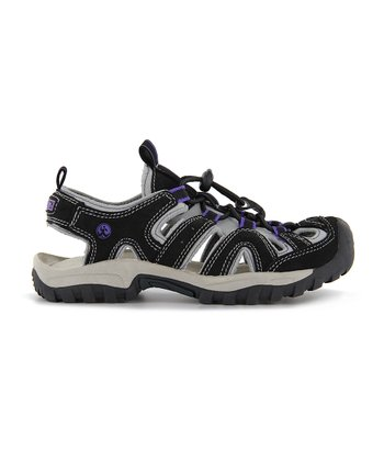 Black & Lilac Burke Closed-Toe Sandal - Kids