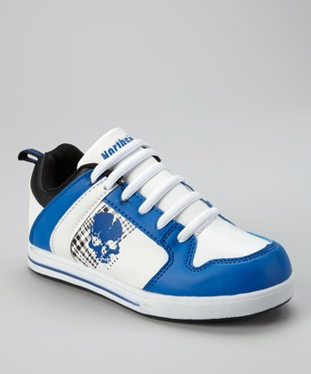 White & Blue Chaz Sneaker - Kids