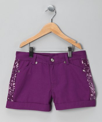 Purple Sequin Shorts - Girls