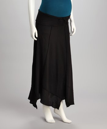 Black 'The Vacation' Maternity Handkerchief Skirt - Women