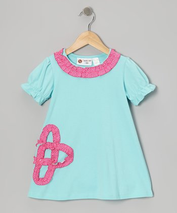 Aqua & Hot Pink Ruffle Flower Tunic - Infant, Toddler & Girls