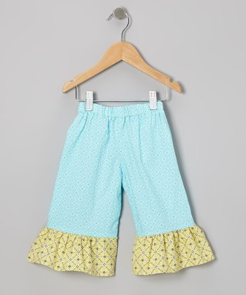 Aqua & Lime Ruffle Capri Pants - Infant, Toddler & Girls
