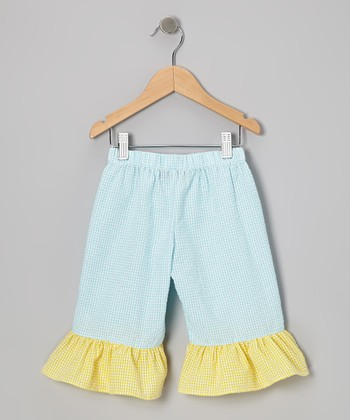 Aqua & Yellow Seersucker Ruffle Capri Pants - Toddler & Girls